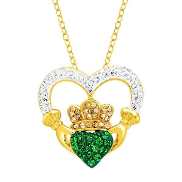 Crystaluxe Claddagh Pendant with Swarovski elements Crystals in 18K Gold-Plated Sterling Silver