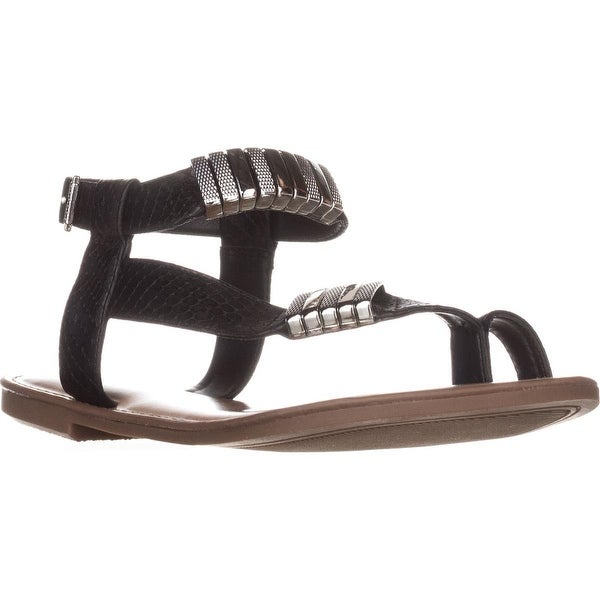 B35 Verna Toe Ring Flat Sandals, Black Snake - 6 us