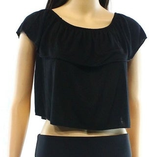 TopShop NEW Black Womens Size 6 Smocked Popover Off-The-Shoulder Blouse