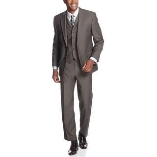 Sean John Brown Pindot 3pc Vested Suit 38 Regular 38R Flat Front Pants 32W