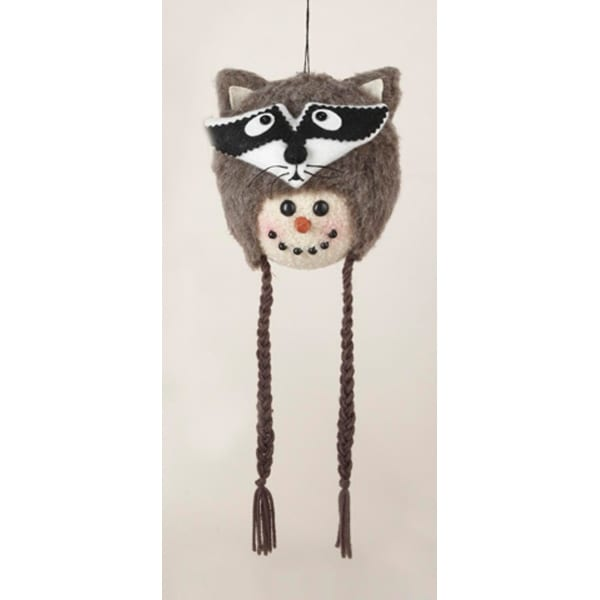 """13"""" Storybook Garden Snowman with Plush Raccoon Hat Christmas Ornament"""