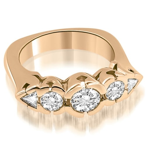 1.50 cttw. 14K Rose Gold Round and Trillion Cut Diamond Wedding Band