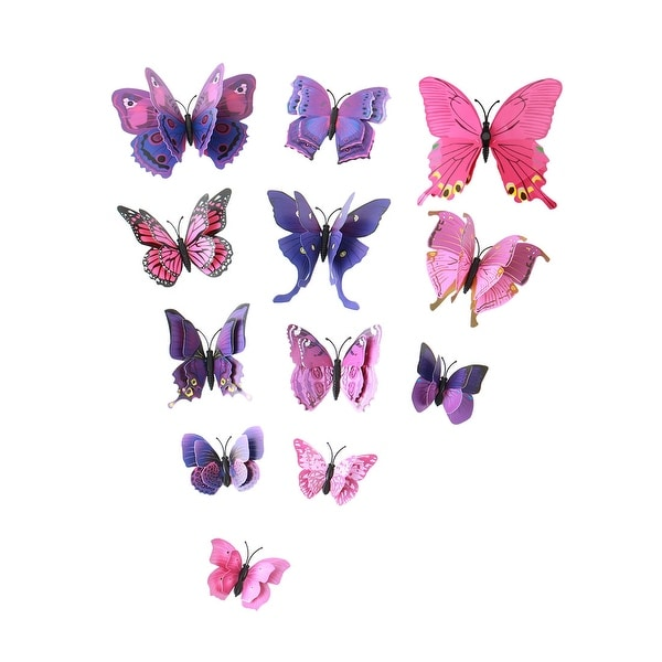 3D Butterfly Wall Sticker Decal with Double Wings with Sticker Purple