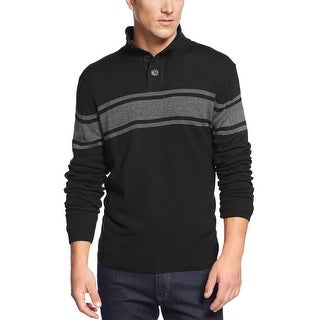Weatherproof Chest Striped Mock Neck Sweater Black and Grey