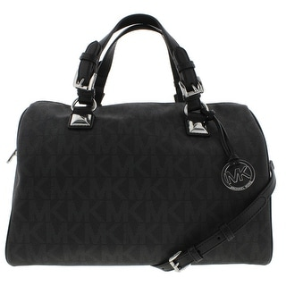 MICHAEL Michael Kors Womens Grayson Faux Leather Convertible Satchel Handbag - Black - Large