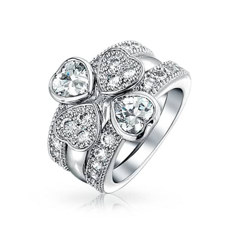 Clover AAA CZ Band Guard Engagement Wedding Ring Set Sterling Silver