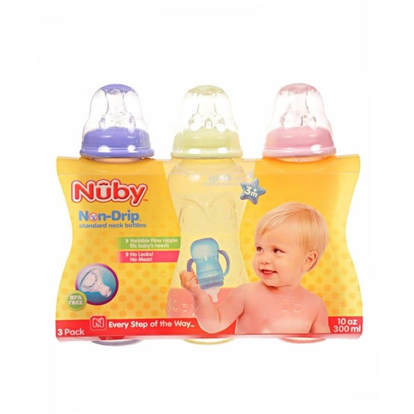 Nuby Standard Neck Non-Drip 10-oz Bottles - Multi - Does Not Apply