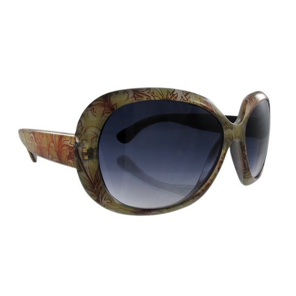 6606180de Shop Green And Brown Floral Print Ladies Sunglasses Gradient - One ...
