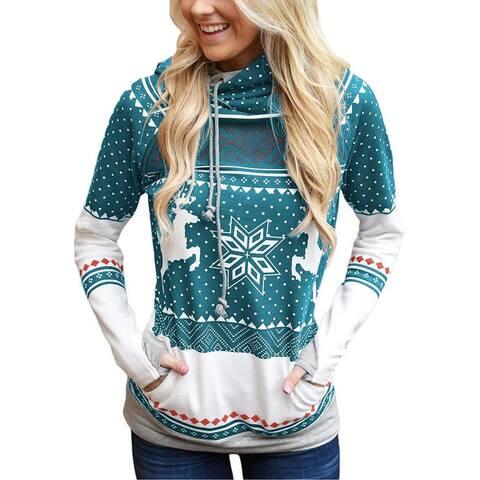 Christmas Zipper Printed Pocket Hooded Finger Sweater
