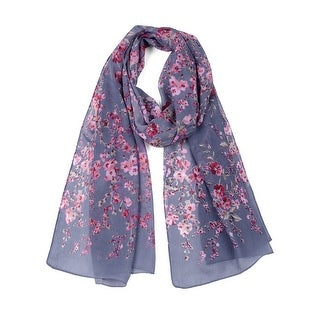 Link to Long Chiffon Beach Scarf Silk Scarves Floral Scarves for Women - Denim Blue Similar Items in Scarves & Wraps