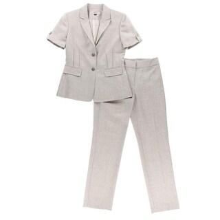 Tahari ASL Womens William 2PC Short Sleeves Pant Suit