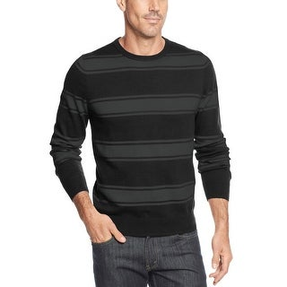 John Ashford Cotton Crewneck Sweater Deep Black and Gray Striped Pullover