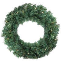 "24"" Pre-Lit Cedar Pine Artificial Christmas Wreath - Warm Clear LED Lights - green"