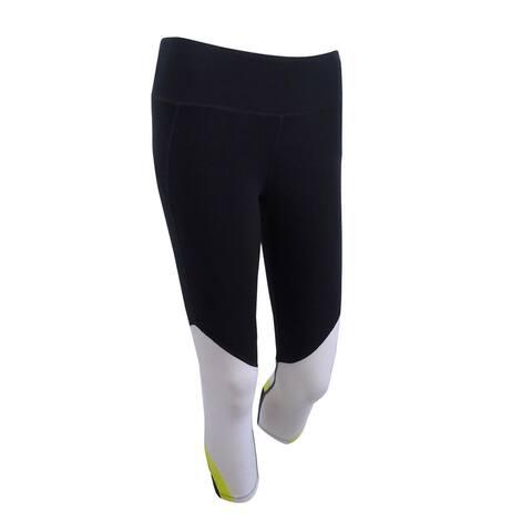 DKNY Women's Colorblocked Cropped Leggings XS, Black/White - XS