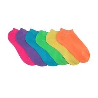Jefferies Socks Girls' Bright Neon Low Cut Sport Socks (Pack of 6)
