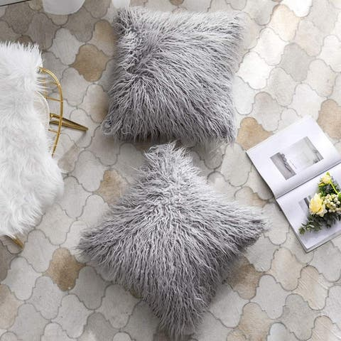 """Luxury Collection Pack of 2 Luxury Throw Pillow Covers Faux Fur Mongolian Style Plush Cushion for Couch Bed and Chair 18"""" x 18"""""""