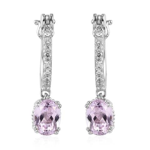 Sterling Silver Kunzite Zircon Hoops Elegant Hoop Earrings Ct 3.7