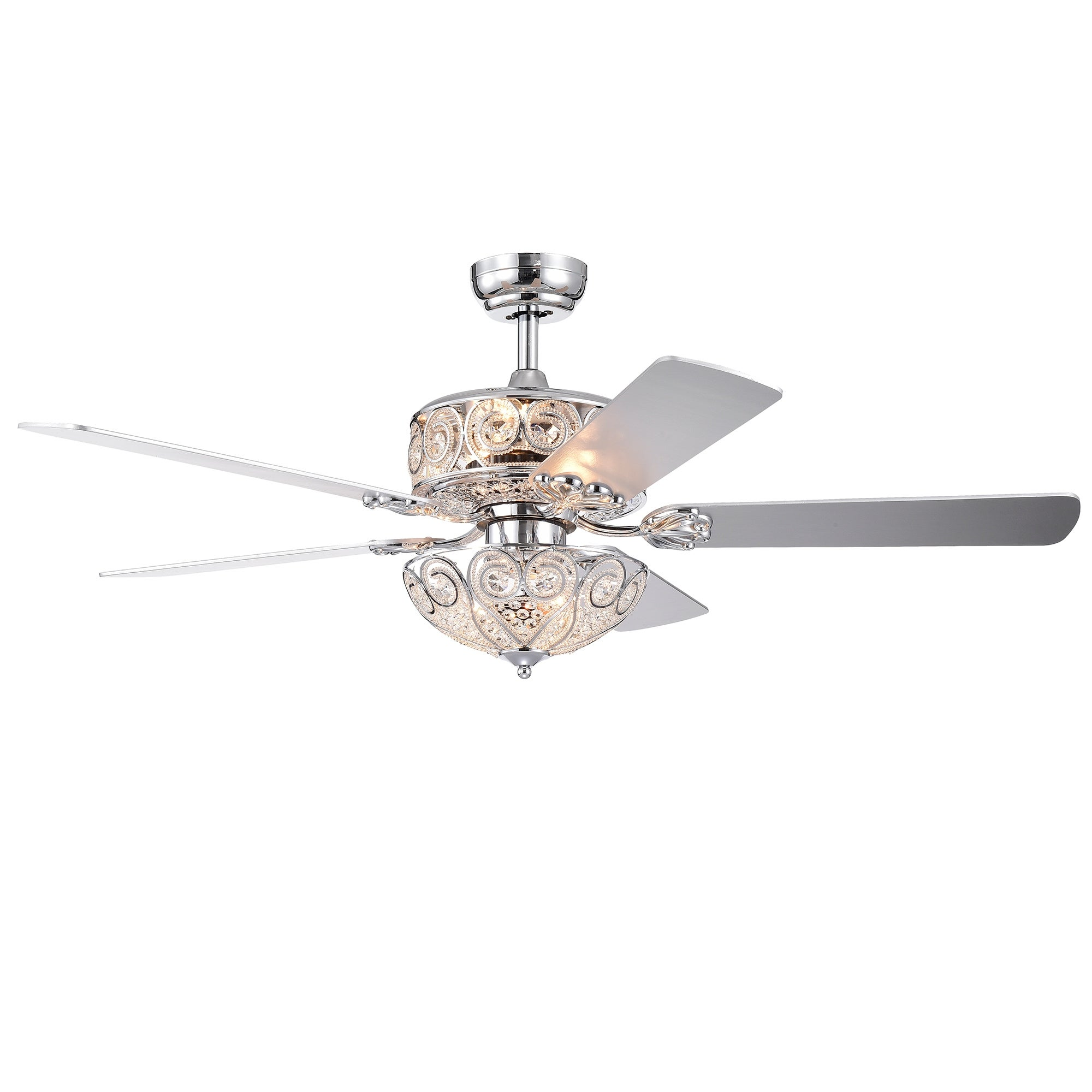 Catalina Chrome 5 Blade 52 Inch Crystal Ceiling Fan Overstock 26386812