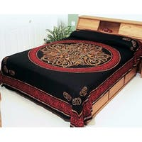 Handmade 100% Cotton Celtic Circle Wheel Of Life Tapestry Spread  Red Black Twin 70x106 Full 88x106 Queen 106x106 King 110x110