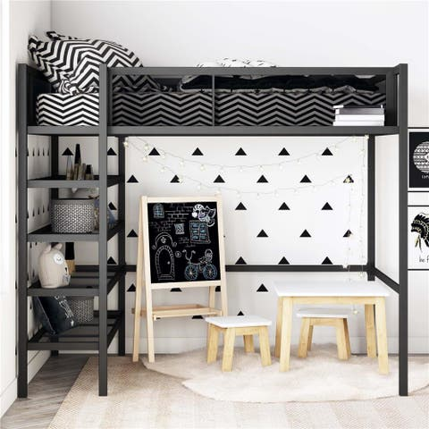 Avenue Greene Tammy Metal Storage Loft with Bookcase
