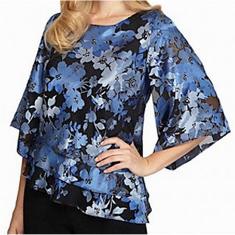 Alex Evenings Blue Floral Layered Kimono-Sleeve Small S Top Blouse