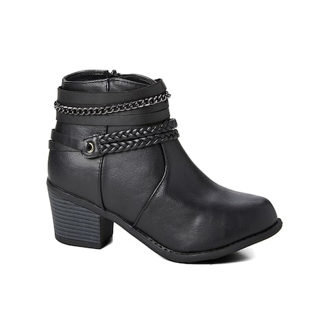 Ameta Black Braid & Chain Ankle Bootie Women