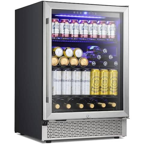 24 Inch Beverage Refrigerator Buit-in Wine Cooler Mini Fridge