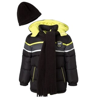 Ixtreme Toddler Boys Colorblock Print Puffer Jacket Set with Hat & Scarf