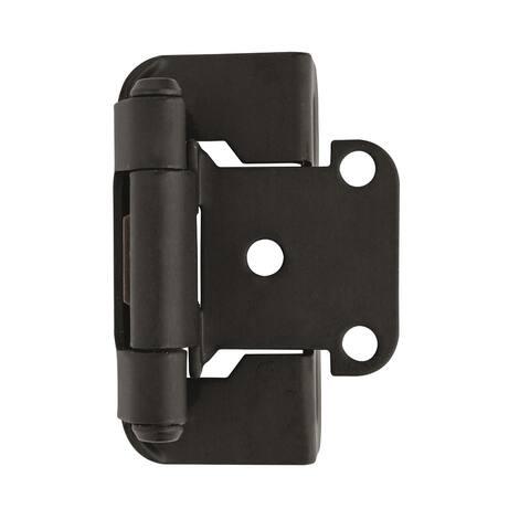 1/2in (13 mm) Overlay Self-Closing, Partial Wrap Flat Black Hinge - 1 Pair - 2.25