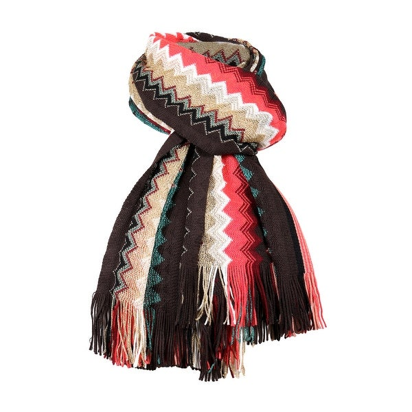Missoni Autumn Red Long Zigzag Fringe Metallic Accent Scarf - 20-69. Opens flyout.