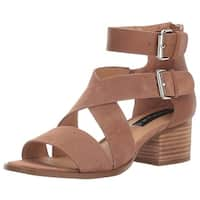 STEVEN by Steve Madden Womens Elinda Leather Open Toe Casual Ankle Strap Sand...