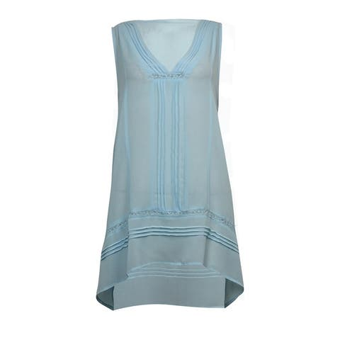 NY Collection Women's Sheer Pintucked Handkerchief Top