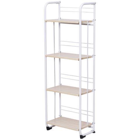 Gymax Folding 4 Tier Shelves Organization Storage Utility Shelving Unit Standing Rack - as pic