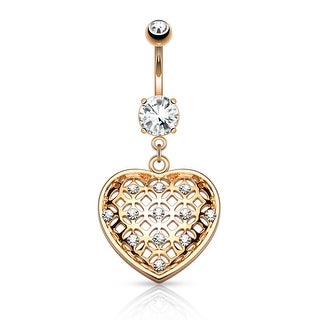 Crystal Tribal Net Heart Dangle Surgical Steel Belly Button Navel Ring - 14GA (Sold Ind.)