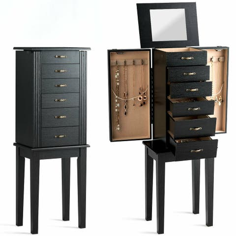 Gymax Jewelry Armoire Chest Cabinet Stand Storage Organizer w/ 5 Drawers & Flip Mirror - Black