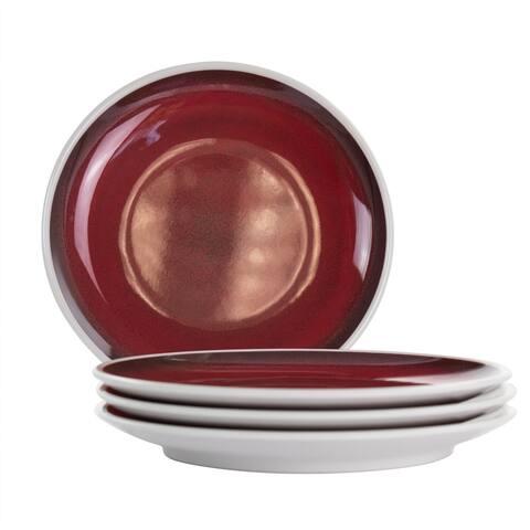 Studio California Cobalt Bay 4 Piece 9 Inch Melamine Round Dessert Plate Set in Red