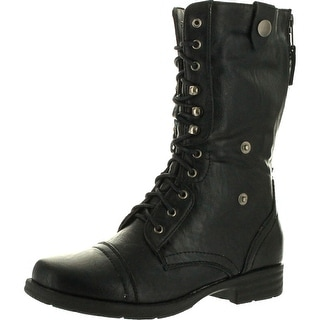 Reneeze Womens Dy-B1307 Foldable Lace Up Shaft Back Zipper Flat Heel Mid-Calf Combat Riding Boots