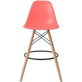 2xhome - Pink - Eames Chair Style DSW Molded Plastic Bar Stool Modern Barstool Counter Stool with back