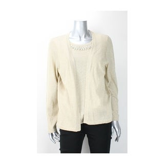 Ny Collection Gold Pearl-Trim Metallic Layered Sweater L - lg