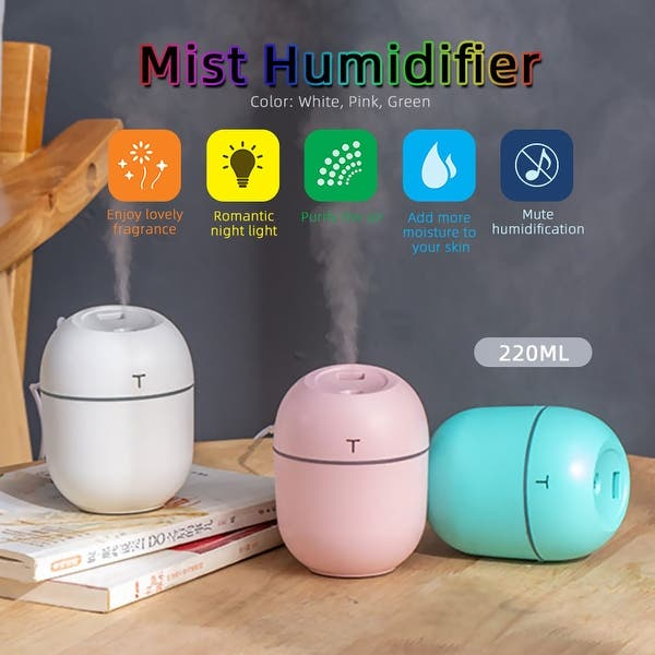 Shop 220ml Mini Mist Humidifier Diffuser Led Night Light Usb Quiet Diffuser Cute Humidifier Air Purifier For Bedroom Home Office Overstock 32312083