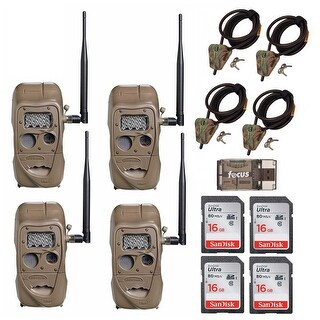 Cuddeback J Series LR IR Trail Camera with Python Cable and 16GB Card (4-Pack)