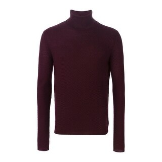 Carven Men's Wool Turtleneck Sweater Small S Burgundy Pullover Knitwear Jumper