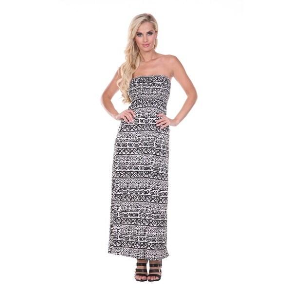 a3216cf1f6f55 Shop Tribal Print Maxi Tube Dress - Black White - On Sale - Free ...