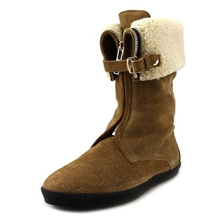 Burberry Stanmore Women Round Toe Suede Brown Mid Calf Boot