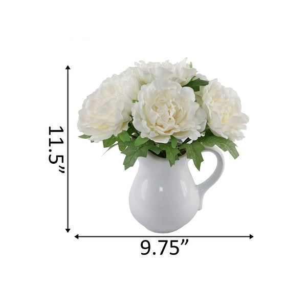 """11.5"""" TALL White PEONY IN CERAMIC Vase - ONE-SIZE"""