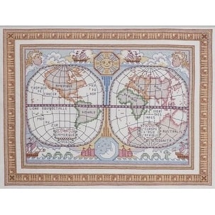 Bucilla World Map Stamped Cross Stitch Kit