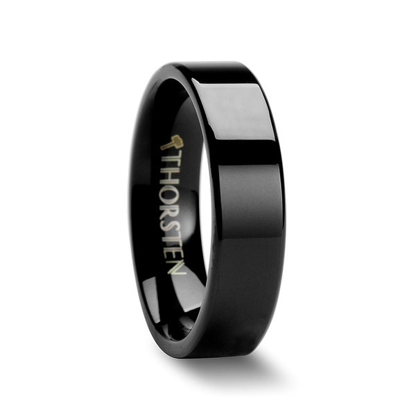 THORSTEN - MORPHEUS Flat Black Tungsten Carbide Wedding Ring - 6mm