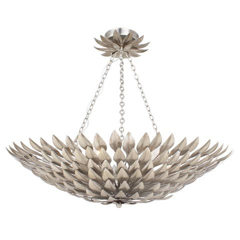 Broche 6 Light Antique Silver Ceiling Mount