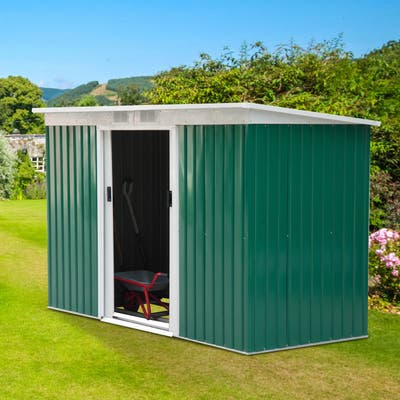 Outsunny Outdoor Green and White Metal 9' x 4' Garden Storage Shed
