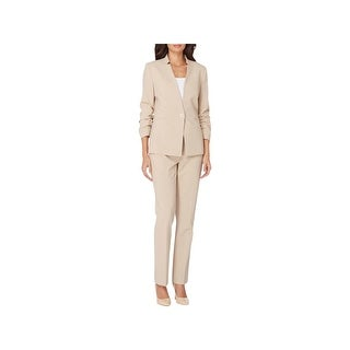 Tahari ASL Womens Pant Suit Ruched Sleeve Toggle - 0p
